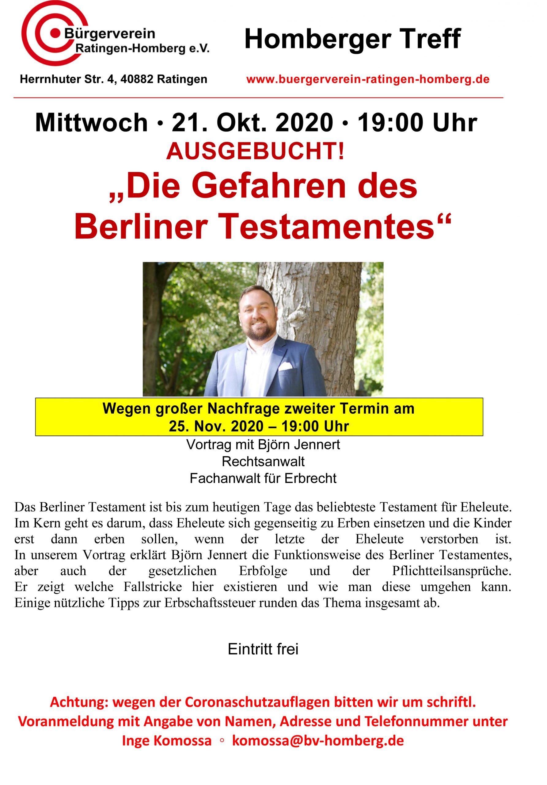 """Vortrag """"Die Gefahren des Berliner Testamentes"""" AUSGEBUCHT"""