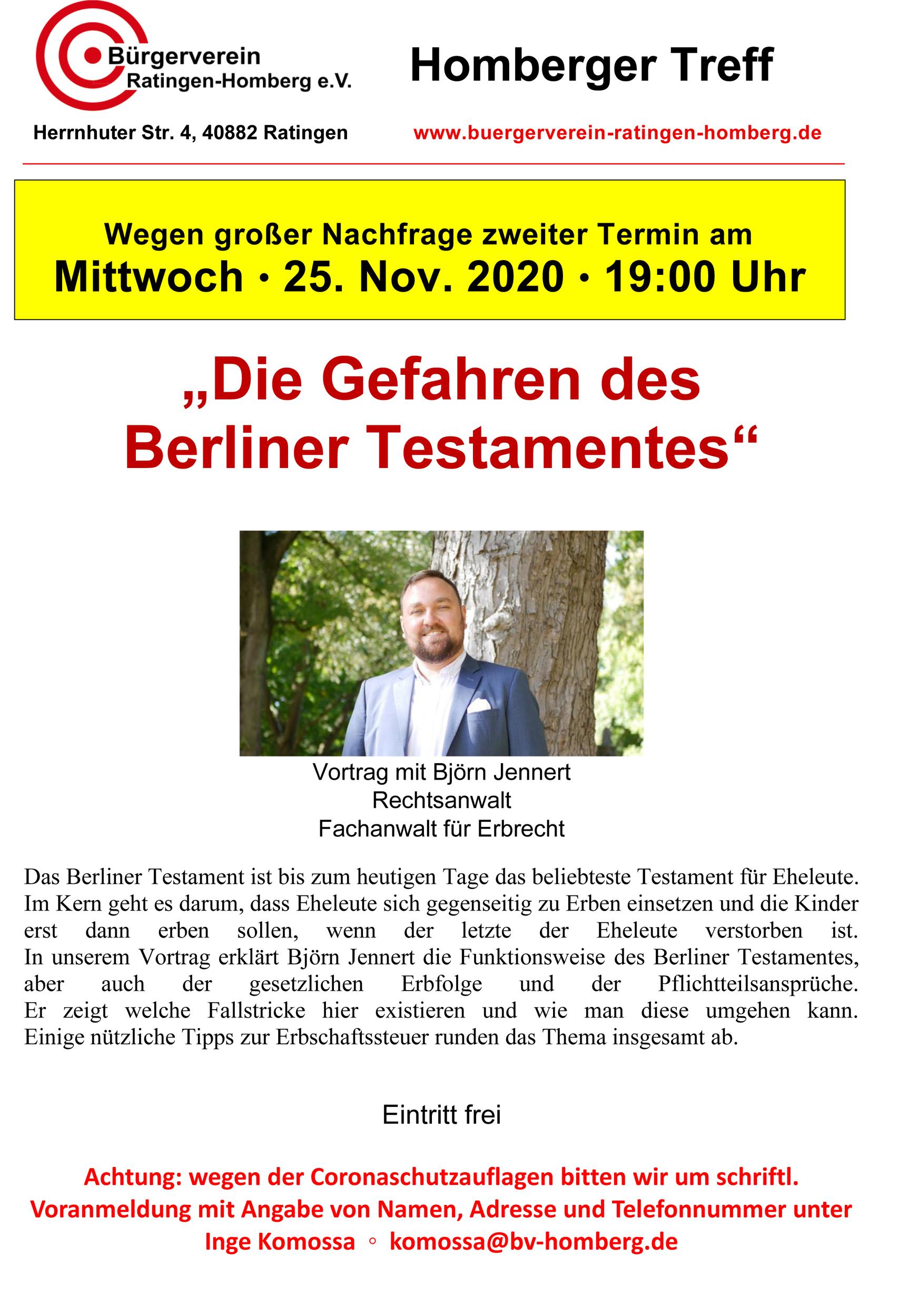 """Vortrag """"Die Gefahren des Berliner Testamentes"""" zusätzlicher Termin / AUSGEBUCHT / Wird auf 2021 verschoben! Genauer Termin folgt!"""