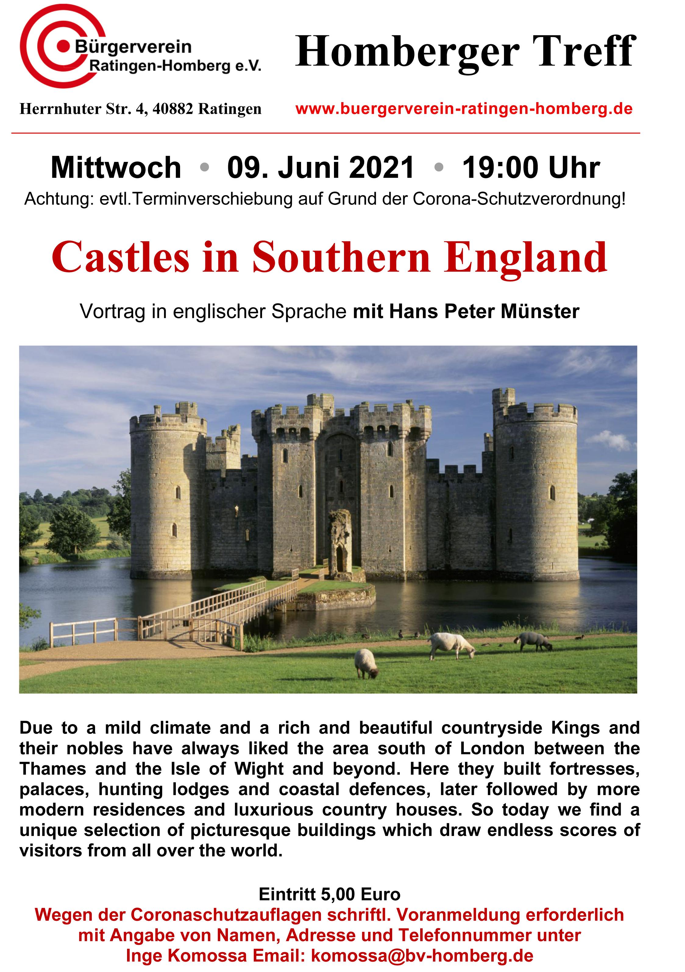 Castles in Southern England - Vortrag in englischer Sprache mit Hans Peter Münster / Verlegt auf 09. Juni 2021