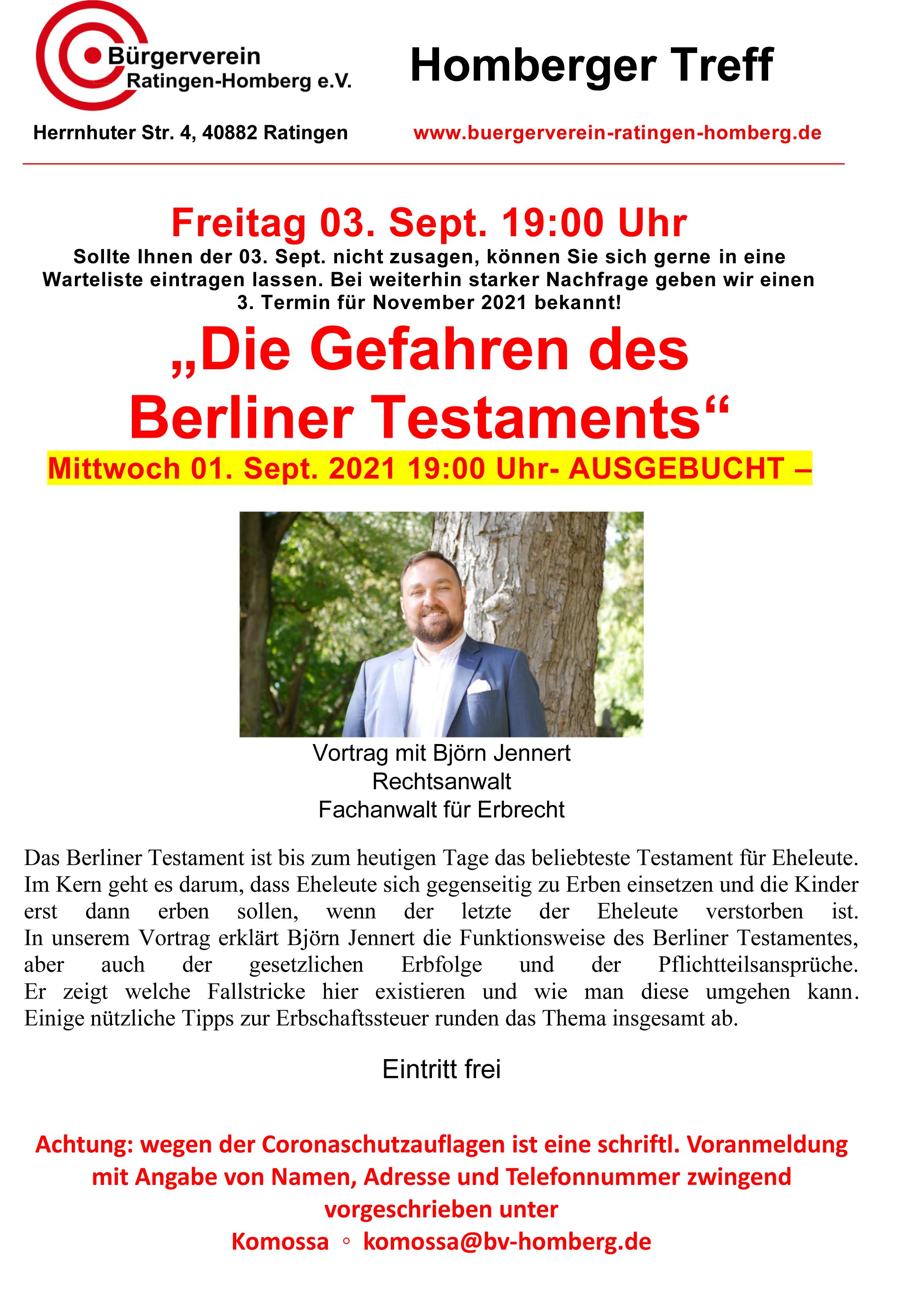 """Vortrag """"Die Gefahren des Berliner Testaments"""""""