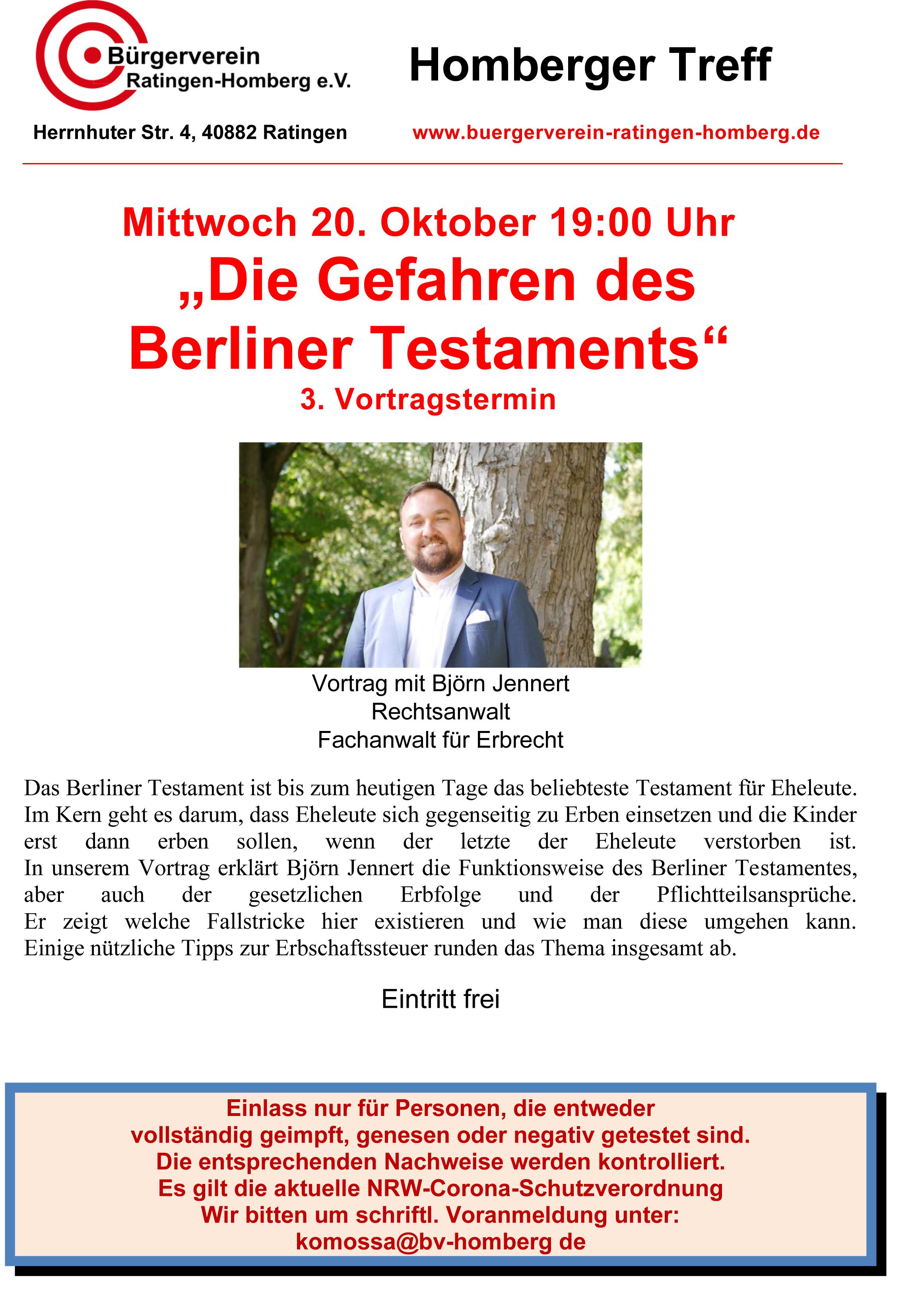 """Vortrag """"Die Gefahren des Berliner Testaments"""" Zusatztermin"""